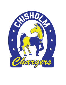 horse with words Chisholm Chargers in a horse shoe